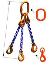 33948284 Zawiesie łańcuchowe trzycięgnowe klasy 10 miproSling WLHW 5,3/3,75 (długość łańcucha: 1m, udźwig: 3,75-5,3 T, średnica łańcucha: 8 mm, wymiary ogniwa: 160x90 mm)