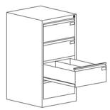 99551748 Szafka kartotekowa 0,8-1,5mm, 4 szuflady (wymiary: 1060x545x630 mm)