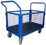 DOSTAWA GRATIS! 13340622 Wózek platformowy ręczny osiatkowany (koła: pełna guma 200 mm, nośność: 600 kg, wymiary: 1200x700x500 mm)