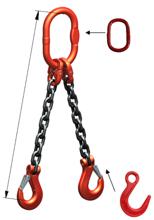 DOSTAWA GRATIS! 33948318 Zawiesie łańcuchowe dwucięgnowe klasy 8 miproSling LC 11,2/8,0 (długość łańcucha: 1m, udźwig: 8-11,2 T, średnica łańcucha: 16 mm, wymiary ogniwa: 200x110 mm)