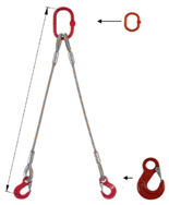 DOSTAWA GRATIS! 33948364 Zawiesie linowe dwucięgnowe miproSling HE 11,8/8,4 (długość liny: 1m, udźwig: 8,4-11,8 T, średnica liny: 28 mm, wymiary ogniwa: 230x130 mm)