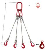 DOSTAWA GRATIS! 33948485 Zawiesie linowe czterocięgnowe miproSling LE 9,0/6,5 (długość liny: 1m, udźwig: 6,5-9 T, średnica liny: 20 mm, wymiary ogniwa: 190x110 mm)