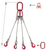 DOSTAWA GRATIS! 33948494 Zawiesie linowe czterocięgnowe miproSling T 15,0/11,0 (długość liny: 1m, udźwig: 11-15 T, średnica liny: 26 mm, wymiary ogniwa: 230x130 mm)