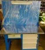DOSTAWA GRATIS! 77156937 Stół warsztatowy z nadbudową perforowaną i oświetleniem, 5 szuflad (wymiary: 1500x750x900 mm)