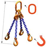 IMPROWEGLE Zawiesie łańcuchowe czterocięgnowe klasy 10 miproSling KFW 8,0/6,0 (długość łańcucha: 1m, udźwig: 6-8 T, średnica łańcucha: 10 mm, wymiary ogniwa: 180x100 mm) 33948303
