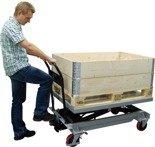 Ruchomy stół podnośny ręczny (udźwig: 500 kg, wymiary platformy: 1200x800 mm, wysokość podnoszenia min/max: 370-1190 mm) 310556
