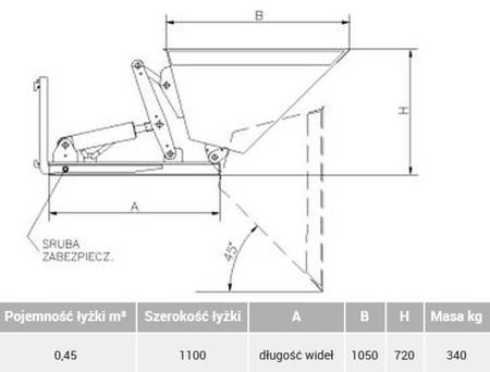 Szufla hydrauliczna na widły (pojemność łyżki: 0,45 m³, szerokość łyżki: 1100 mm) 29076511