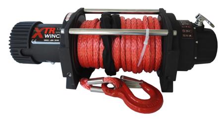 Wyciągarka XTR 13500lbs [6130kg] SPEED z liną syntetyczną 12V (lina: 10 mm czerwona dyneema 25m 10400kg +hak) 81877810