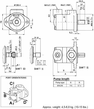 DOSTAWA GRATIS! 01539167 Pompa hydrauliczna łopatkowa B&C (objętość geometryczna: 3,29 cm³, maksymalna prędkość obrotowa: 4800 min-1 /obr/min)