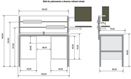 DOSTAWA GRATIS! 05971702 Stół do pakowania (wymiary blatu: 140x70 mm)