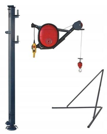 DOSTAWA GRATIS! 08172274 Wciągarka elektryczna linowa budowlana + Podpory + Wysoki maszt (udźwig: 325 kg)