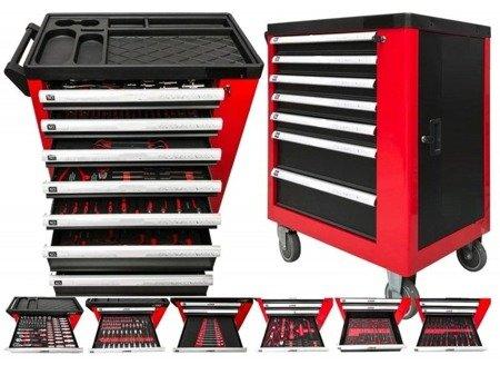 DOSTAWA GRATIS! 16070000 Wózek, szafka narzędziowa, 7+1 szuflad + 250 narzędzi (wymiary: 970x840x460 mm)