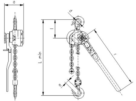 DOSTAWA GRATIS! 2209130 Wciągnik dźwigniowy, rukcug z łańcuchem ogniwowym RZC/0.8t (wysokość podnoszenia: 3,5m, udźwig: 0,8 T)