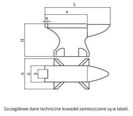DOSTAWA GRATIS! 27067757 Standardowe kowadło jednorożne (waga: 25 kg)