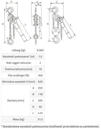 DOSTAWA GRATIS! 33917047 Wciągnik łańcuchowy, rukcug GKS 9,0 (udźwig: 9000 kg, wysokość podnoszenia: 3 m)