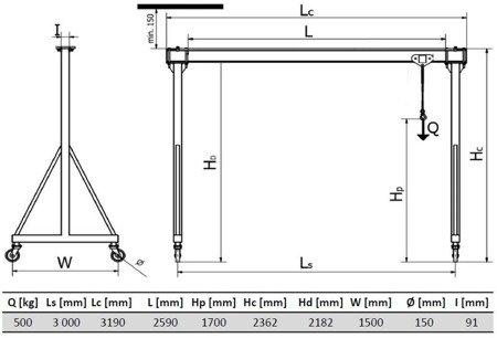 DOSTAWA GRATIS! 33974595 Wciągarka bramowa skręcana miproCrane DELTA 300 z wciągnikiem łańcuchowym z łańcuchem manewrowym zintegrowany z wózkiem (udźwig: 500 kg, wysięg: 3000 mm, wysokość podnoszenia: 1700 mm)