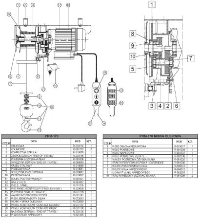 DOSTAWA GRATIS! 37515645 Wciągarka linowa budowlana (udźwig: 170 kg, długość liny: 30m)