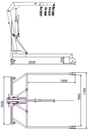 DOSTAWA GRATIS! 61771622 Żuraw hydrauliczny paletowy podwyższony (udźwig: od 500 do 1000 kg)