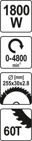 DOSTAWA GRATIS! 65669931 Ukośnica (średnica tarczy: 255 mm. moc: 1800W)