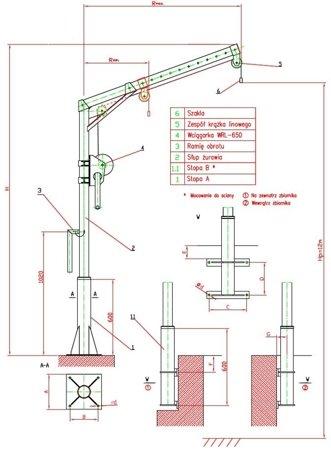 DOSTAWA GRATIS! 95869069 Żuraw słupowy z wciągarką ręczną (udźwig: 150 kg, długość liny: 12m)