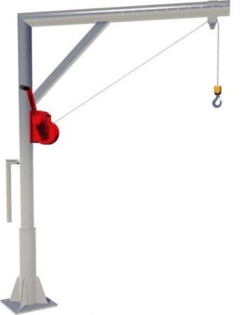 DOSTAWA GRATIS! 95871615 Żuraw słupowy z wciągarką ręczną (udźwig: 250 kg)