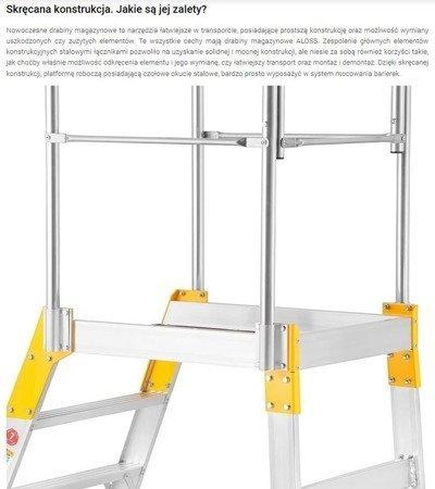DOSTAWA GRATIS! 99674604 Drabina magazynowa - mostek jednostronny Aloss (wysokość robocza: 3,50m)