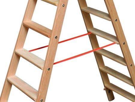 DOSTAWA GRATIS! 99674697 Drabina drewniana dwustronna Krause ze stopniami 2x6 (wysokość robocza: 2,85m)