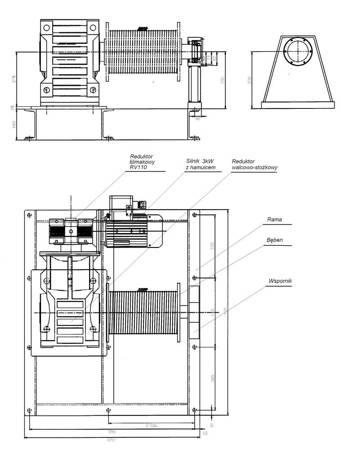 Elektryczna wciągarka linowa 220mb (siła uciągu: 2700/1620 kg, moc: 5,5kW 400V) 28876809