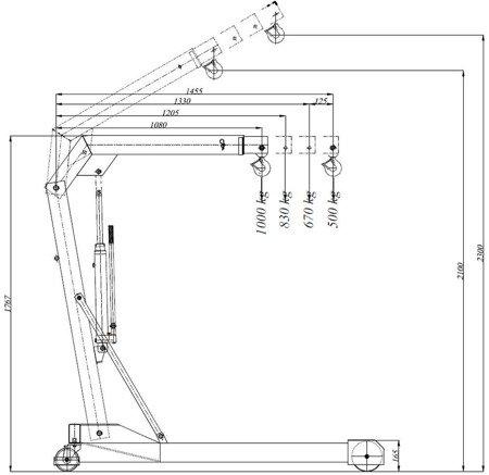 HYDIA Żuraw hydrauliczny ręczny (paletowy, udźwig: od 500 do 1000kg) 617007829