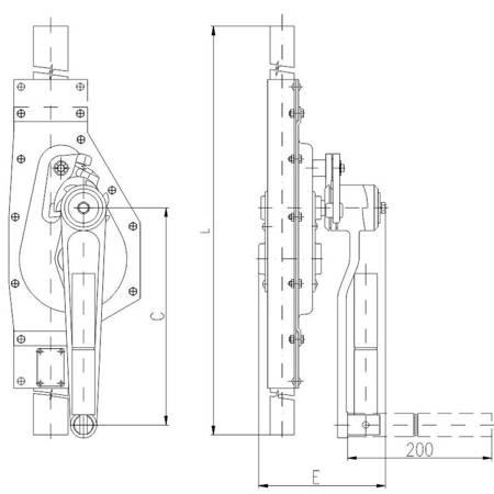Podnośnik mechaniczny zębaty do kontenerów - wersja podstawowa (udźwig: 2,5 T, wysokość: 850 mm) 22077085