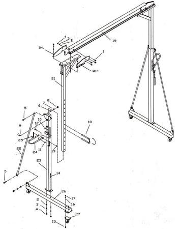 RETOR 32269007 Suwnica bramowa, mobilny dźwig portalowy (udźwig: 1000 kg, szerokość w świetle: 2300 mm, wysokość podnoszenia: 2500-3600 mm)