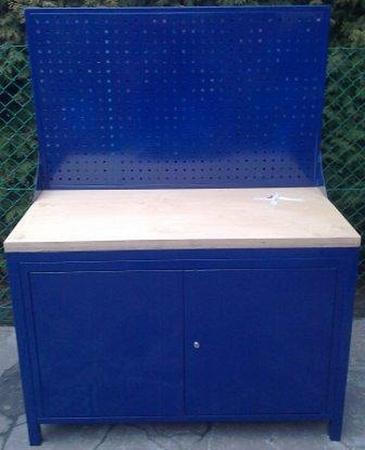Stół warsztatowy z tablicą perforowaną, 2 szafki (wymiary: 1200x600x750 mm) 77156935