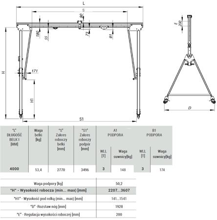 Suwnica bramowa z kołami + wciągarka (udźwig suwnicy: 3000 kg, długość belki: 4000 mm, wysokość robocza: min/max: 2207-3607 mm) 99976516