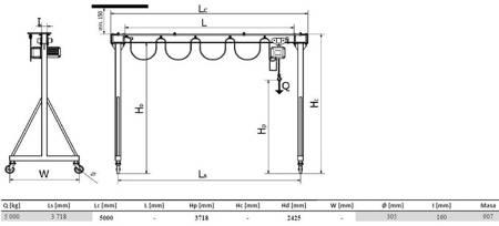 Wciągarka bramowa skręcana miproCrane DELTA 300, wciągnik łańcuchowy elektryczny zintegrowany z wózkiem elektrycznym + kaseta sterująca (udźwig: 5000 kg, wysięg: 3718 mm, wysokość podnoszenia: 2425 mm) 33977982