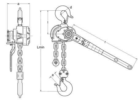 Wciągnik łańcuchowy dźwigniowy (wysokość podnoszenia: 6,5m, udźwig: 1,6 T) 22076846
