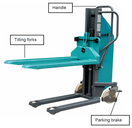 Wózek paletowy podnośnikowy elektryczny z przechyłem GermanTech (max wysokość: 900 mm, udźwig: 800 kg, długość wideł: 1140 mm) 99724829