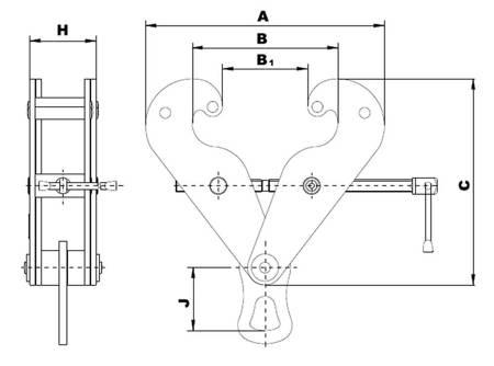Zawiesia klamrowe - z uchem (max szerokość belki: 300 mm, udźwig: 10 T) 22077053