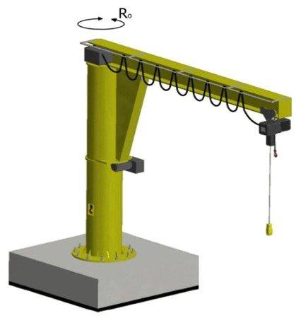 Żuraw słupowy obrotowy z wciągnikiem łańcuchowy elektrycznym zintegrowany z wózkiem (udźwig: 1000 kg, wysięg: 4000mm, wysokość podnoszenia: 4130mm) 33976004